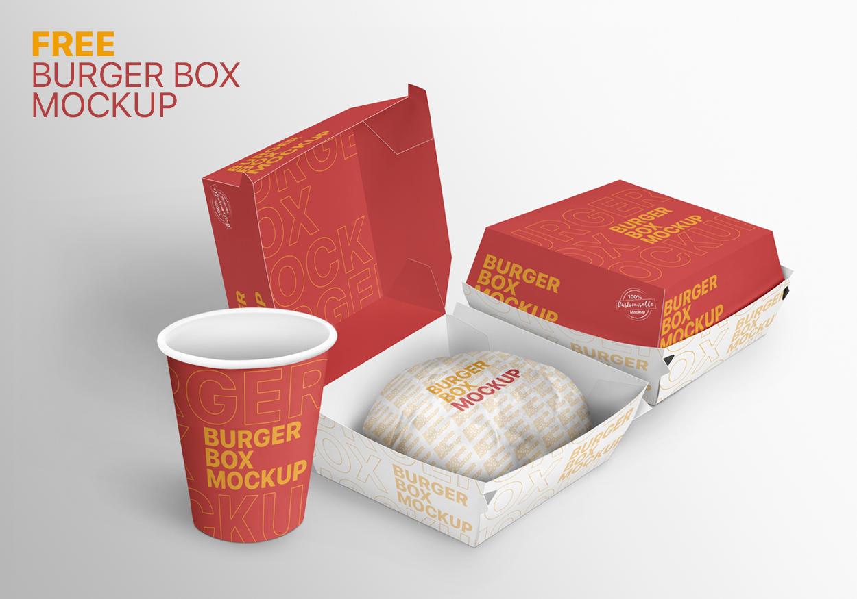 Free Burger Box Mockup Food Box Mockup Fast Food Packaging