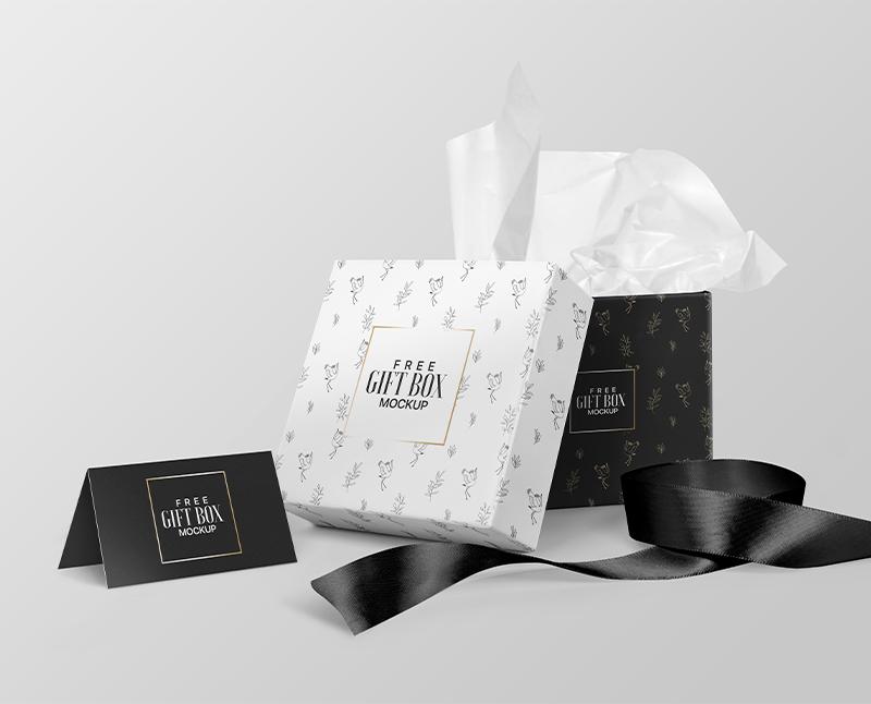 Free Square Gift Box Mockup