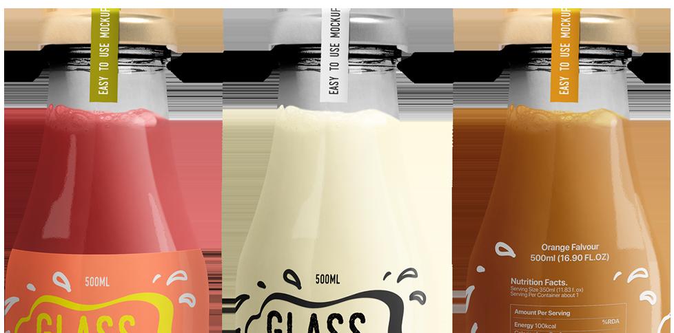 Transparent Glass Bottle Mockup
