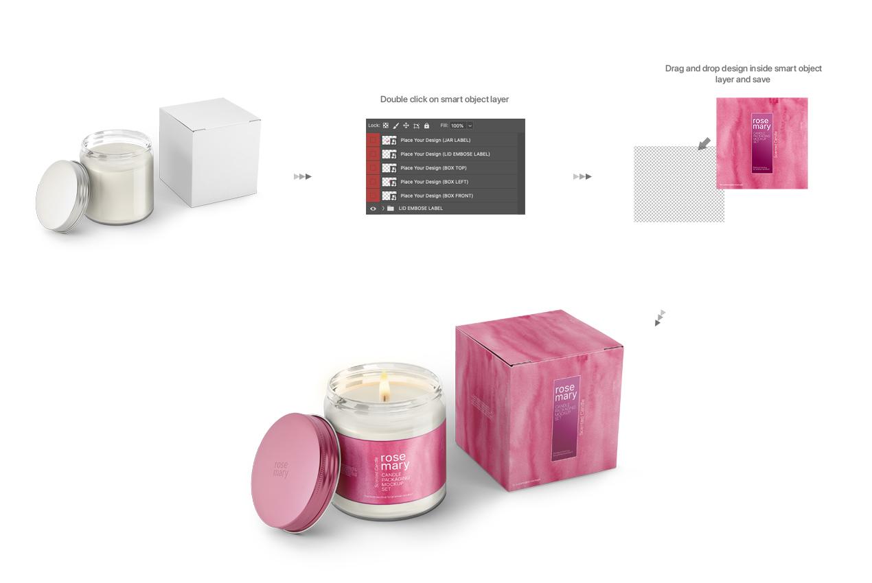 Candle Jar and Box Packaging Mockup Bundle