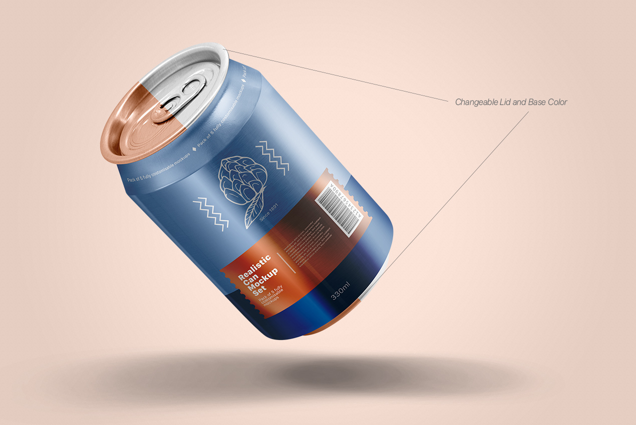 Realistic Can Mockups Set by Pixpine