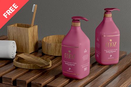 Free Cosmetic Pump Bottle Mockup