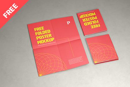 Free Folded Poster Mockup