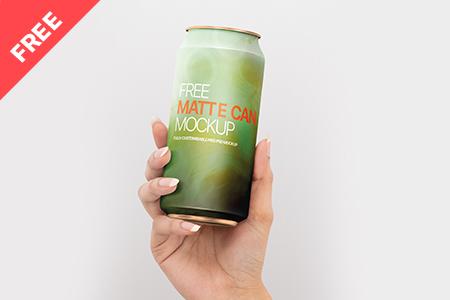 Free matte soda can mockup