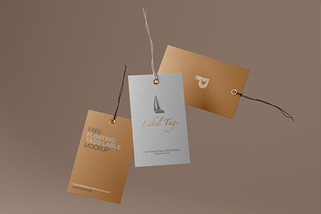 Free Floating Cloth Label Tags Mockup