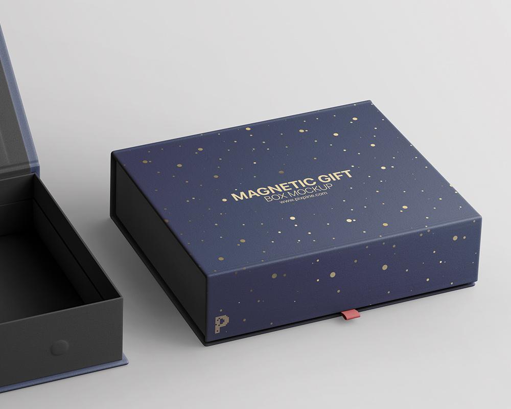 Free Magnetic Gift Box Mockup