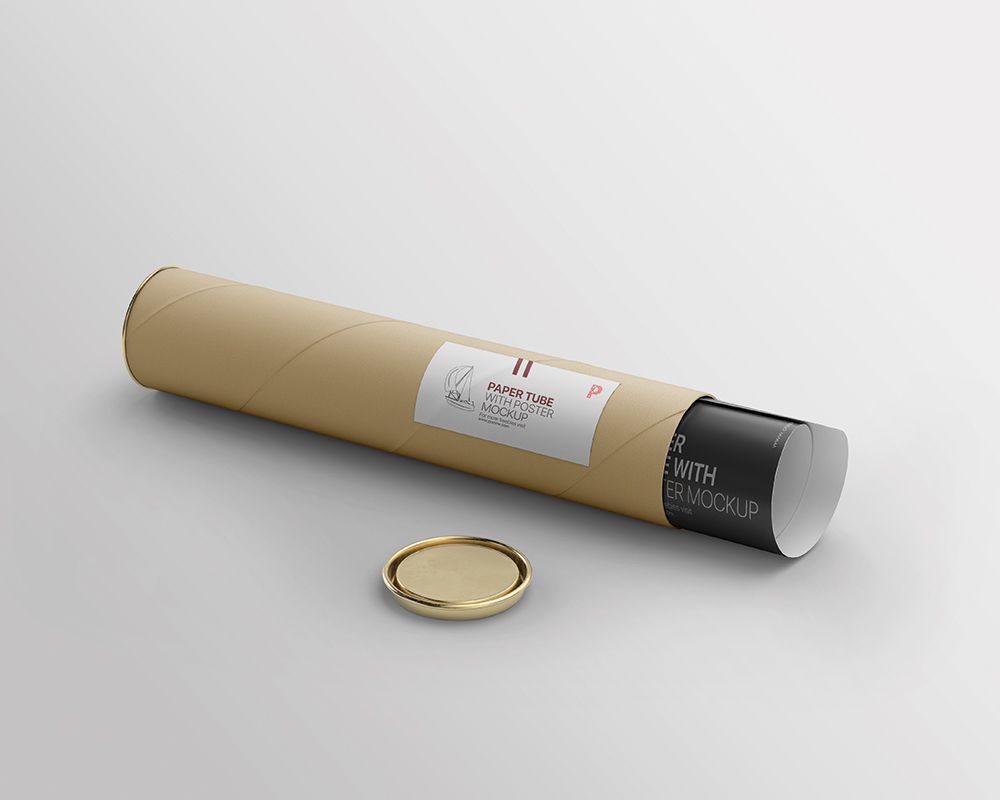 Free Paper Tube with Poster Mockup