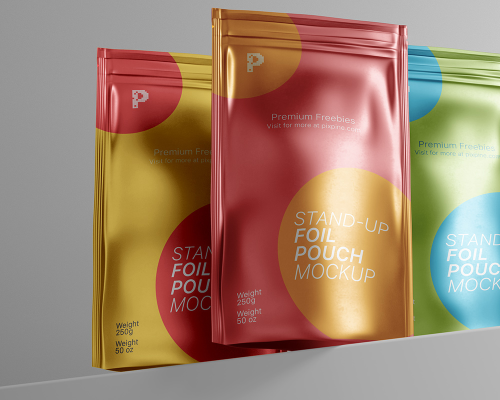 Free Stand-up Foil Pouch Mockup