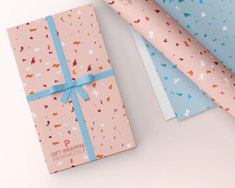 Free Gift Wrapping Paper Mockup