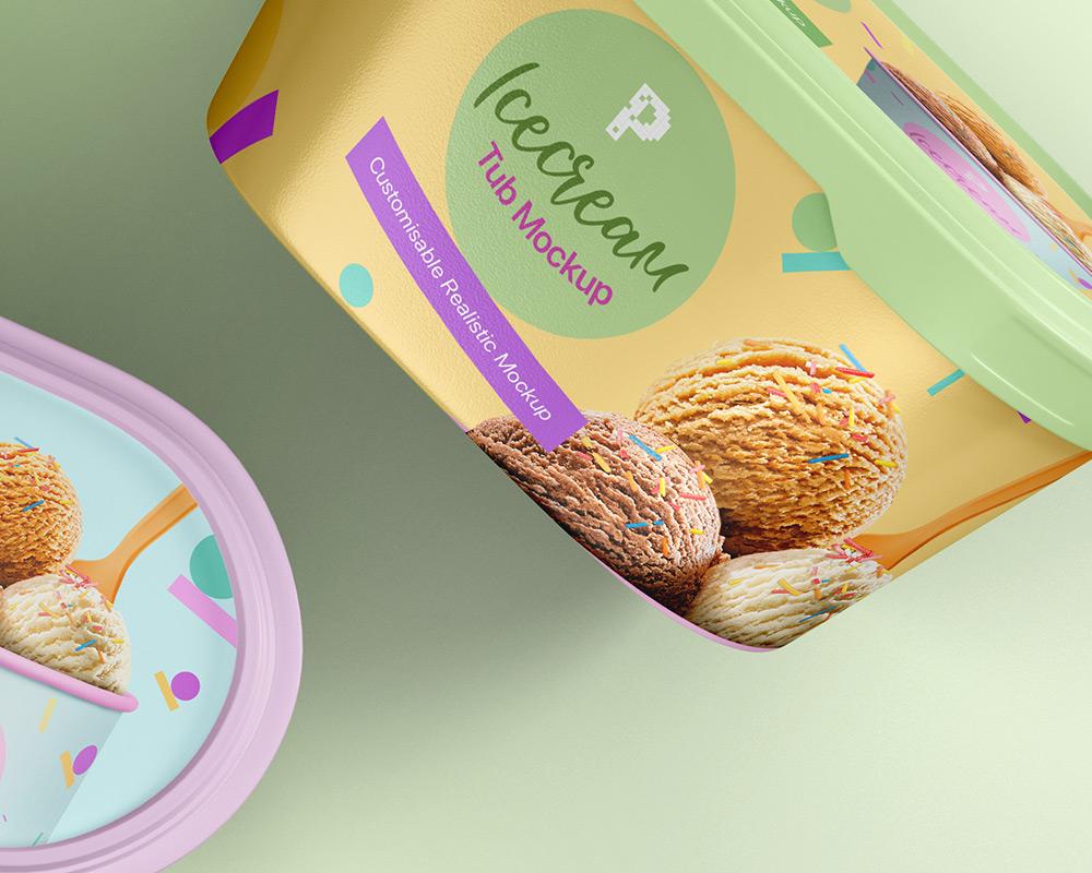 Free Ice Cream Tub Mockup