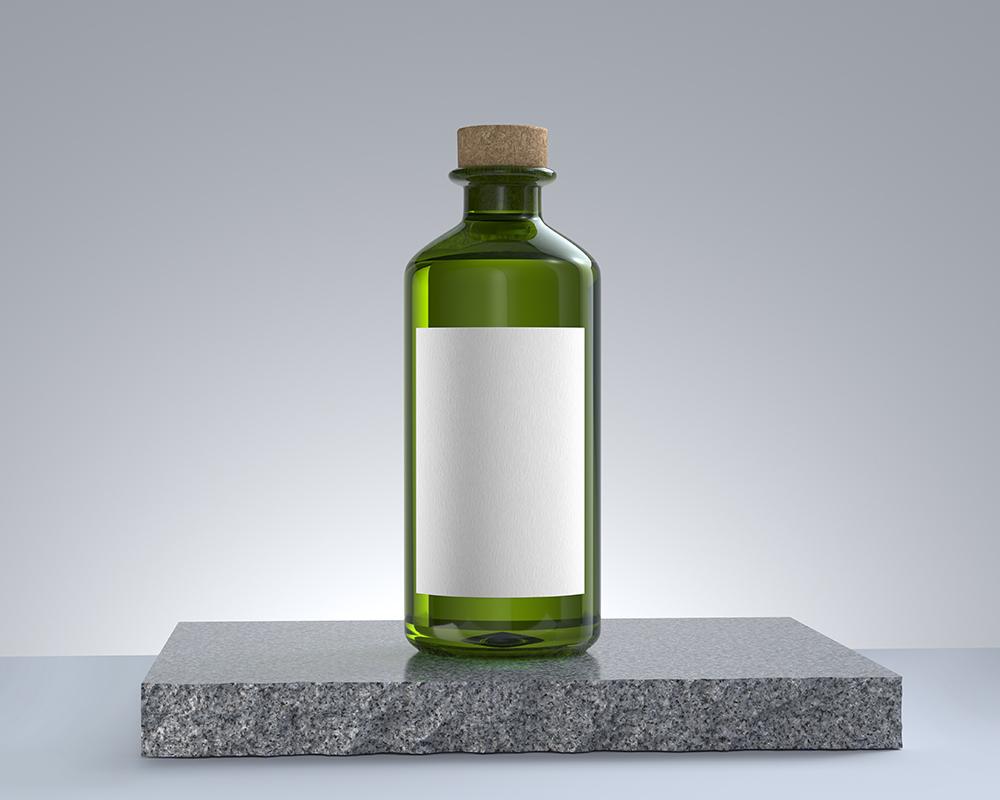 Free Clear Glass Bottle Mockup