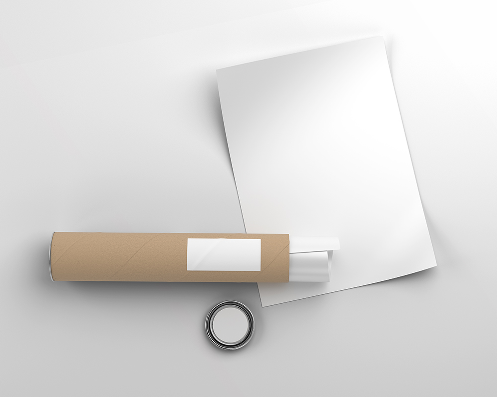 Free Poster with Paper Tube Mockup