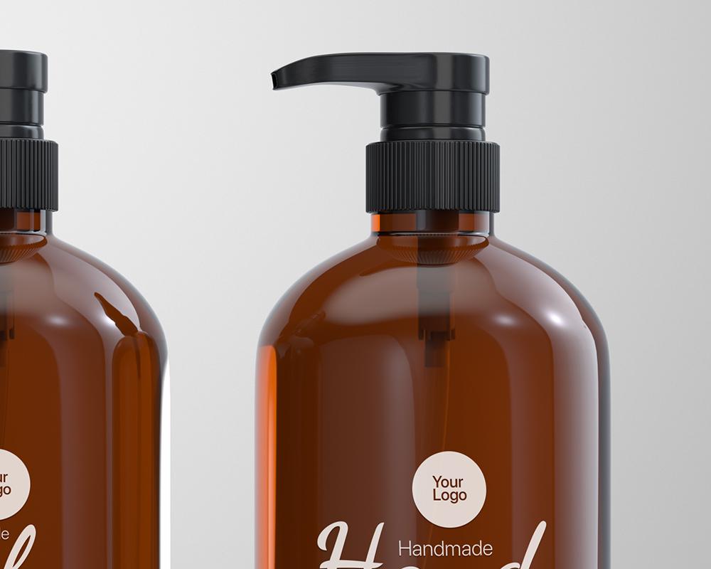 Free Amber Glass Pump Bottle Mockup