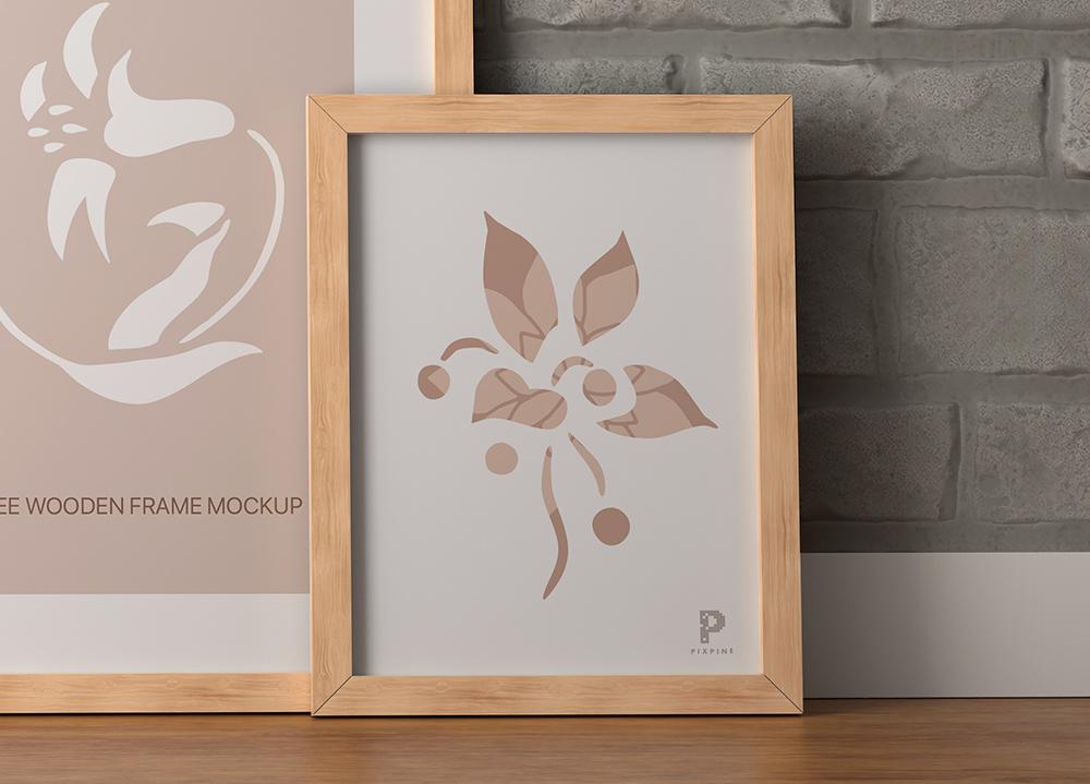 Free Wooden Frames on Floor Mockup