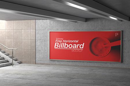Free Subway Horizontal Billboard Mockup